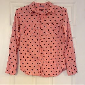 Merona small pink polka dot shirt